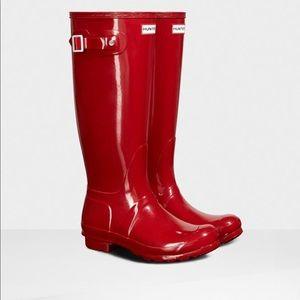 Bright Red Tall Hunter Rain Boots